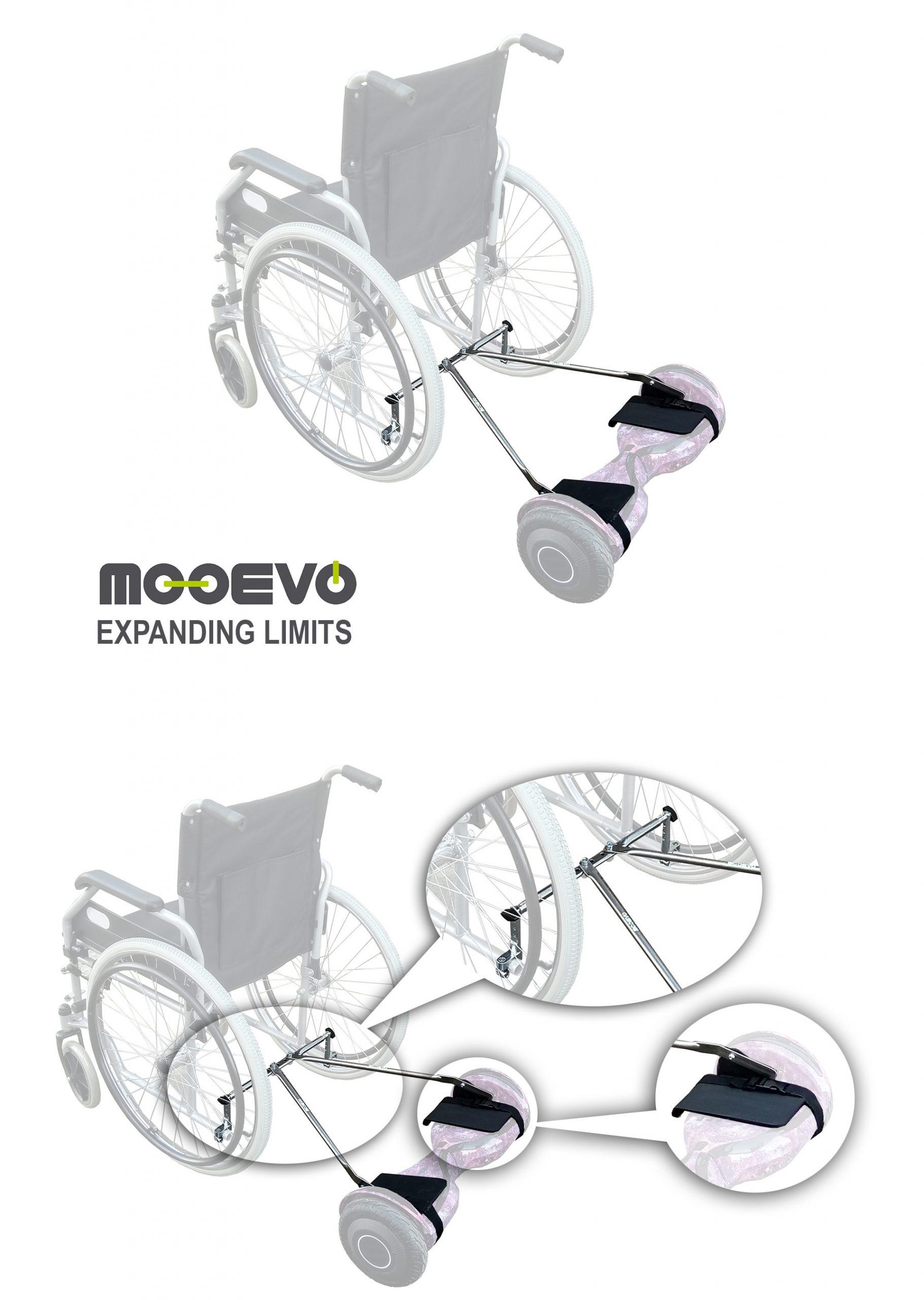 kit adaptador de hoverboard para silla de ruedas instalacion mooevo aidwheels